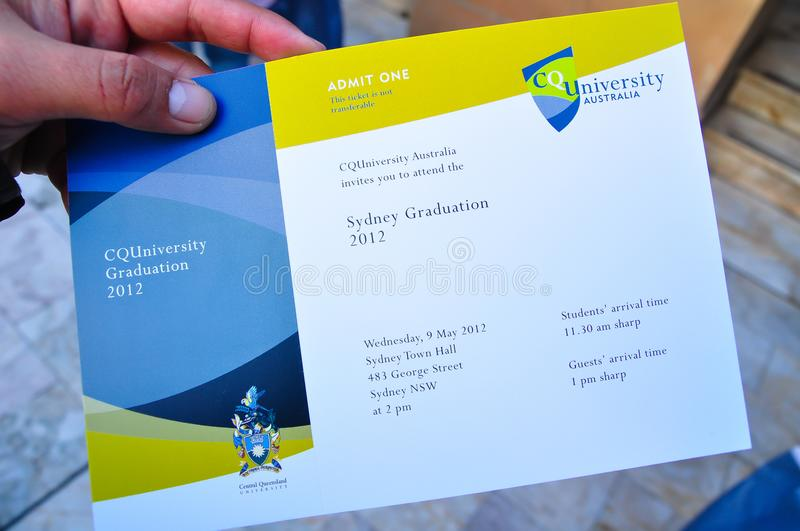Central Queensland university invitation card for graduation ceremony. royalty free stock image