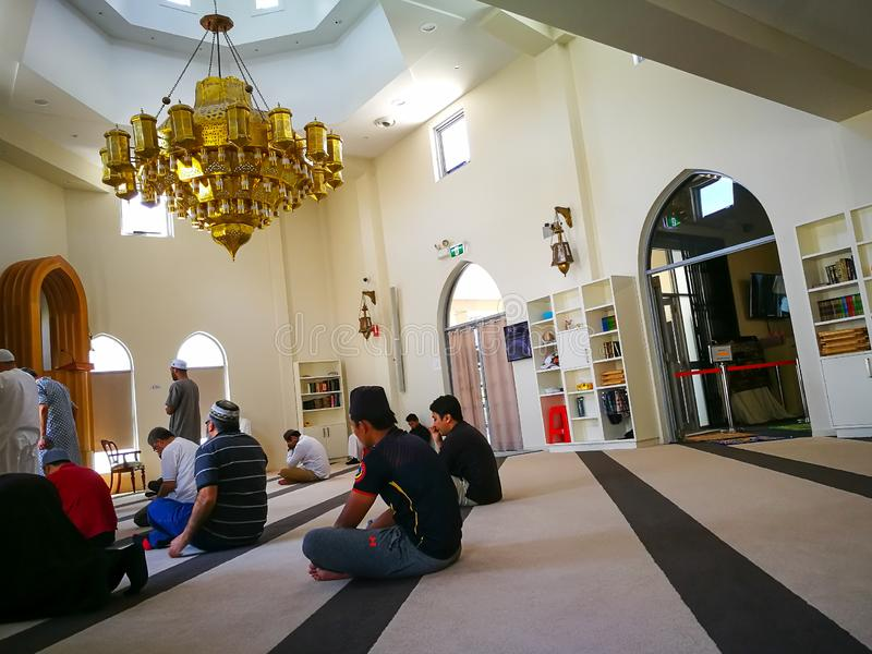 Interior of Darul IMAAN mosque on Friday praying, in Arncliffe, New South Wales. SYDNEY, AUSTRALIA. – On November 02, 2018. – Interior of Darul stock photography