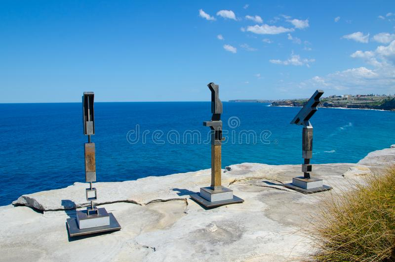 ` Bird Geometry by #1,2 & 3 ` is a sculptural artwork by Anthony Battaglia at the Sculpture by the Sea annual events free. SYDNEY, AUSTRALIA. – On stock images