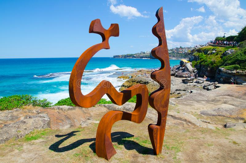 ` Fragments ` is a sculptural artwork by Tim Macfarlane Reid at the Sculpture by the Sea annual events free to the public. SYDNEY, AUSTRALIA. – On stock photos