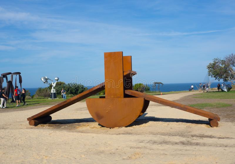 `Horatius` is a sculptural artwork by Morgan Jones at the Sculpture by the Sea annual events free to the public at Bondi. SYDNEY, AUSTRALIA. – On October stock photography