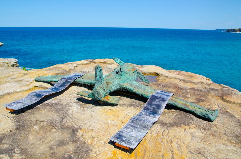 ` Molly and Charles ` is a sculptural artwork by Stephen Harrison at the Sculpture by the Sea annual events free to the public. SYDNEY, AUSTRALIA. – On stock photos
