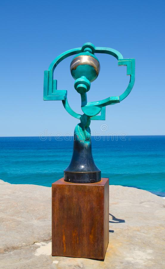 ` Song of the Aisors ` is a sculptural artwork by Jock Clutterbuck at the Sculpture by the Sea annual events free to the public. SYDNEY, AUSTRALIA. – On stock images