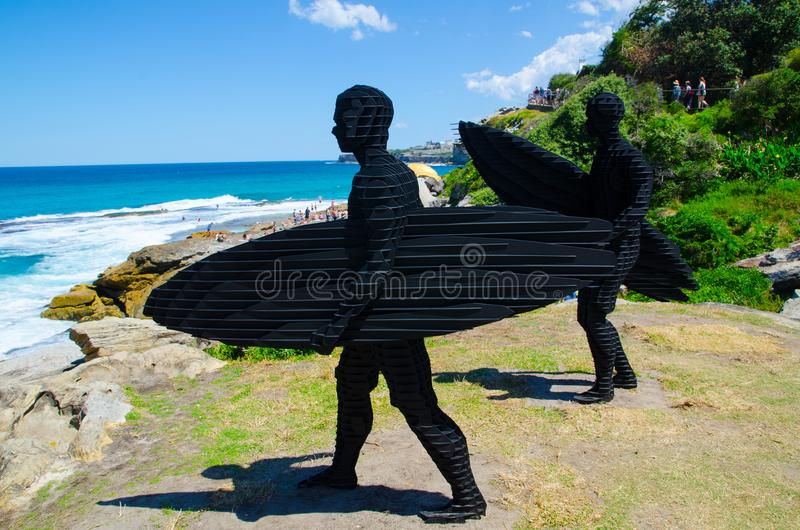 ` Trip I, Trip II ` is a sculptural artwork by April Pine at the Sculpture by the Sea annual events free to the public sculpture. SYDNEY, AUSTRALIA. – On royalty free stock image