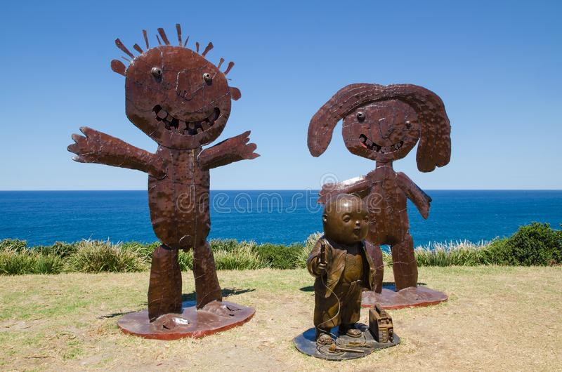 ` Welding iron sculptor ` is a sculptural artwork by Naidee Changmoh at the Sculpture by the Sea annual events free to the public. SYDNEY, AUSTRALIA. – royalty free stock photo