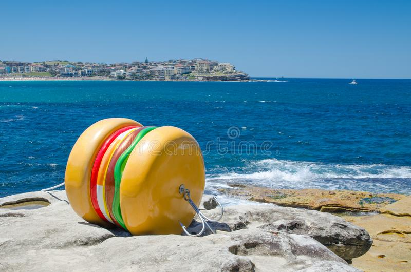 ` What a Tasty Looking Burger ` is a sculptural artwork by James Dive at the Sculpture by the Sea annual events free to the public. SYDNEY, AUSTRALIA. – royalty free stock photo