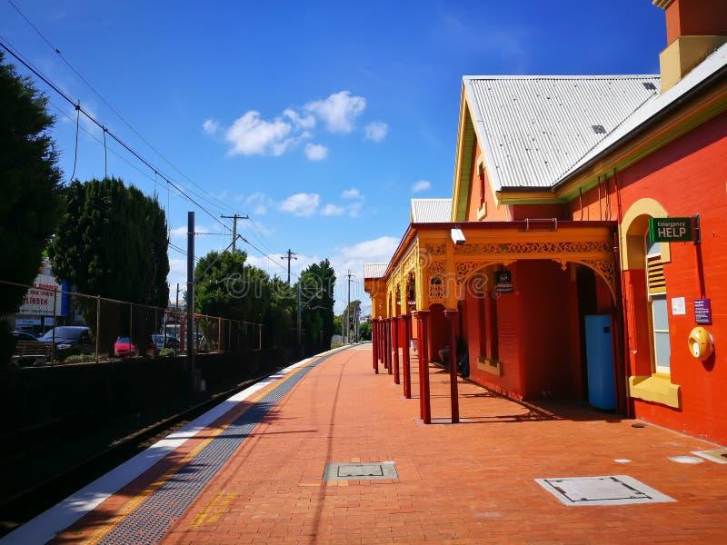 Beautiful orange old design building of Arncliffe railway station on sunshine day. SYDNEY, AUSTRALIA. – On October 26, 2018. - Beautiful orange royalty free stock photography