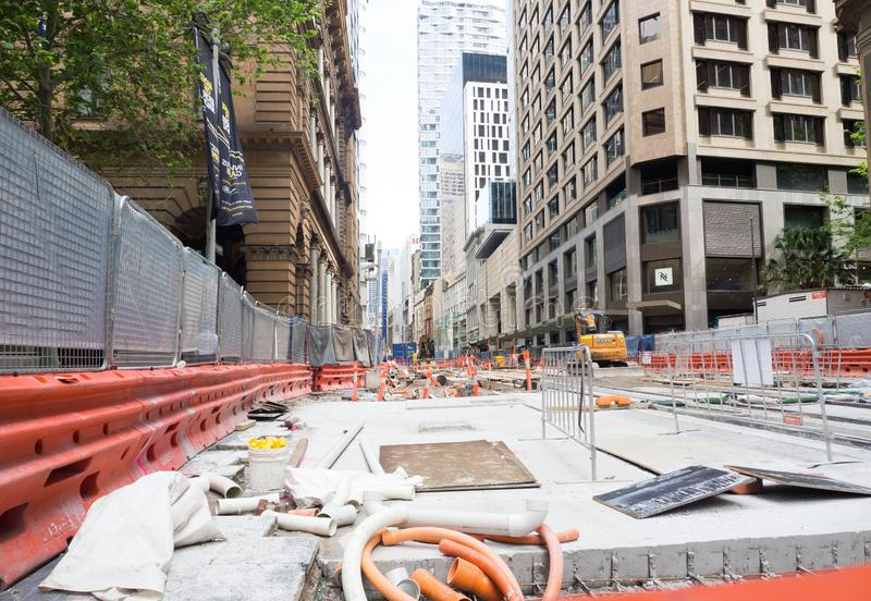Construction site in the midtown on George street for a light rail project. SYDNEY, AUSTRALIA. – On October 21, 2018. - Construction site in the midtown stock image