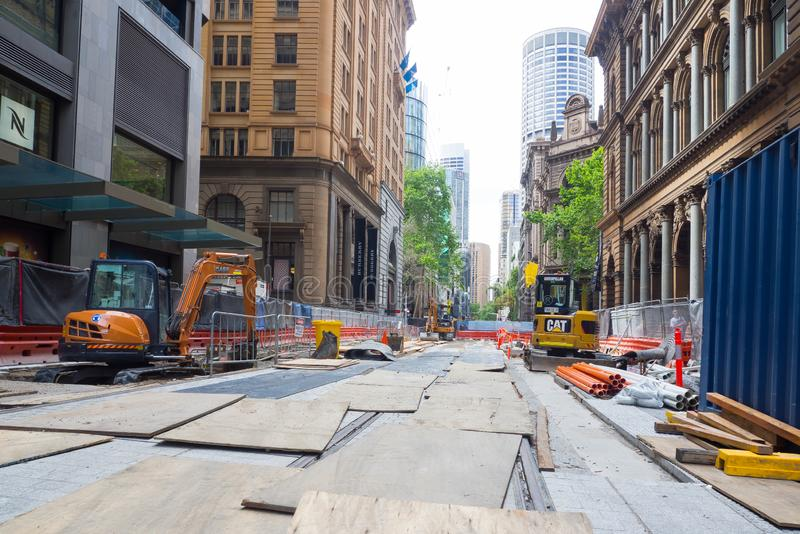 Construction site in the midtown on George street for a light rail project. SYDNEY, AUSTRALIA. – On October 21, 2018. - Construction site in the midtown royalty free stock image