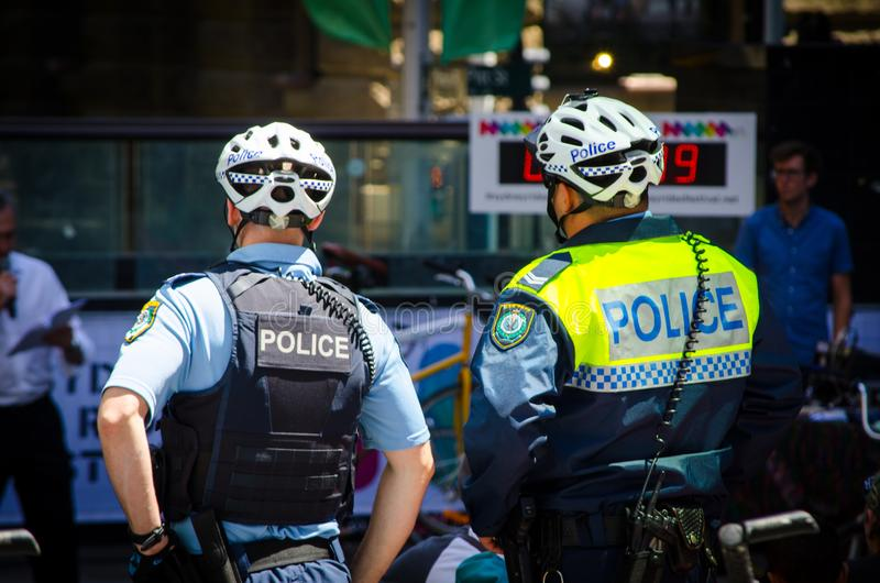 New South Wales Police Force Bicycle Patrol in the event of Sydney Rides Festival at Martin Place. stock photo