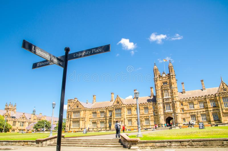 The Sydney university historic old building in beautiful blue sky day, the image show University Direction sign. royalty free stock photo