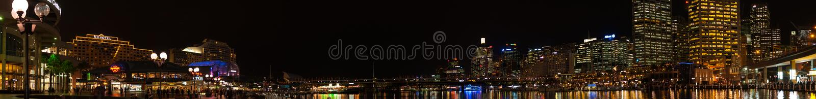 Night Cityscape panoramic photography at Darling Harbour, NSW. royalty free stock images