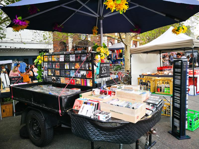 Second hand Music CD and Movies DVD stall at weekend market, Newtown. SYDNEY, AUSTRALIA – On September 23, 2017. – Second hand Music CD and Movies royalty free stock images