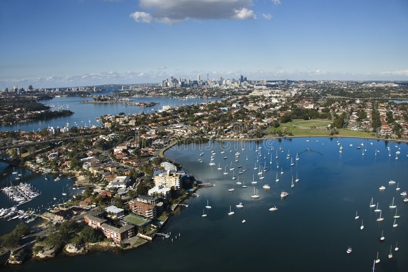 Sydney Australia aerial. Aerial view of boats and buildings in Sydney, Australia from Five Dock Bay in Drummoyne royalty free stock photo