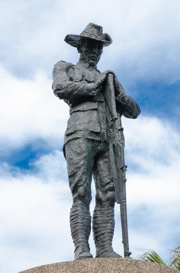 Anzac statue monument standing against cloudy blue sky day at Anzac bridge. royalty free stock images