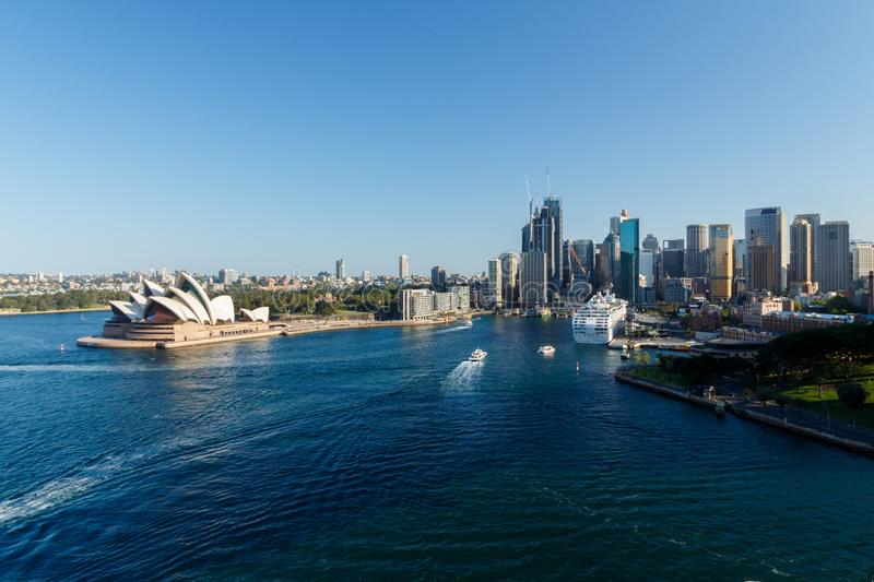 Sydney, Australia - Circa 2019 : Downtown Sydney and Sydney Opera House as viewed from Sydney harbour bridge royalty free stock photography
