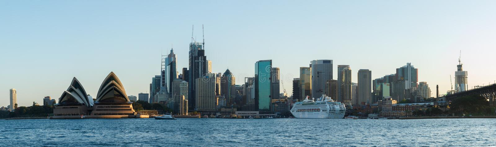 Sydney, Australia - Circa 2019 : Downtown Sydney and Sydney Opera House panorama viewed from Kirribilli stock images