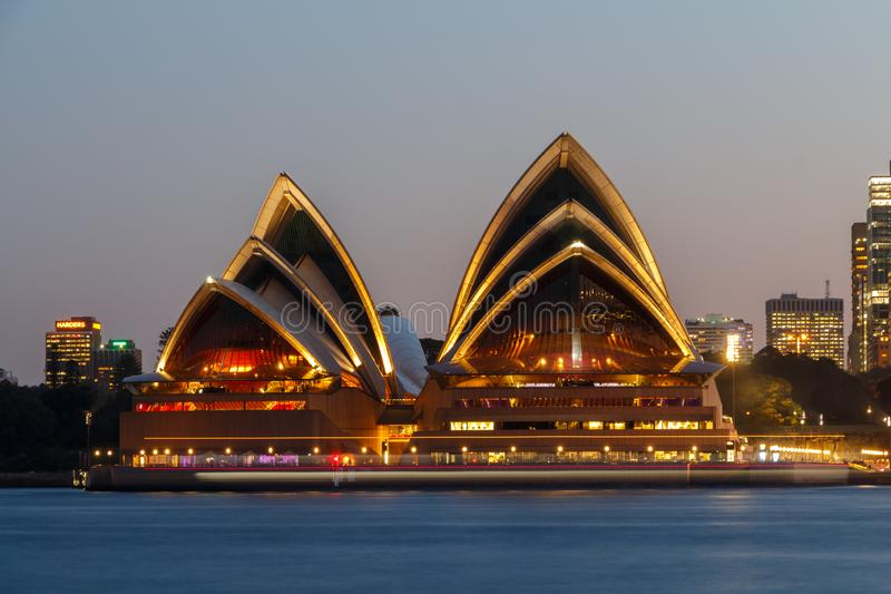 Sydney, Australia - Circa 2019 : Sydney Opera House at dusk, viewed from Kirribilli royalty free stock image