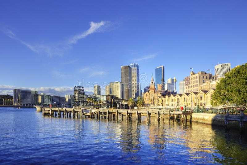 Sydney Australia Circular Quay and The Rocks. Beautiful sunny morning in Sydney, Australia, with Circular Quay and The Rocks stock photos