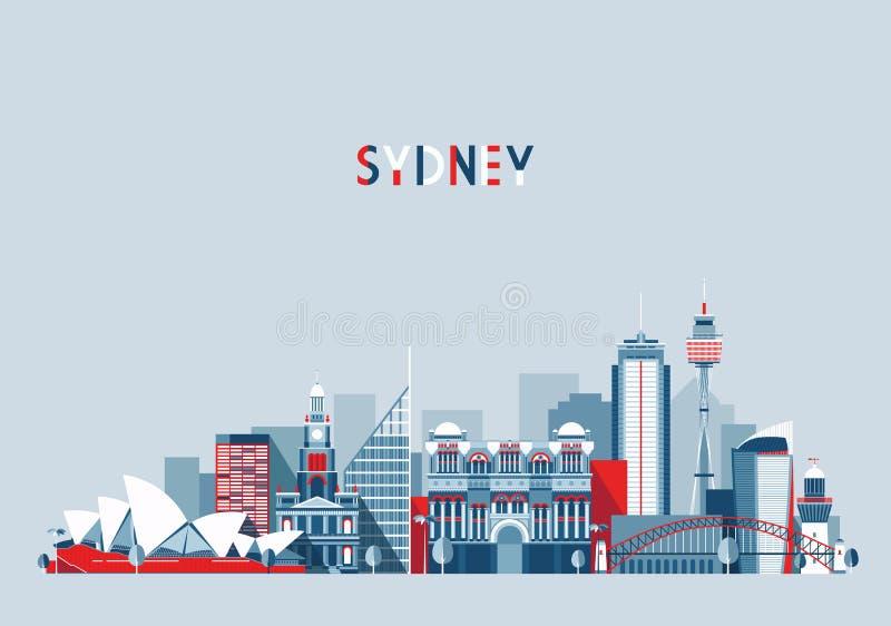 Sydney Australia City Skyline Vector-Achtergrond royalty-vrije illustratie