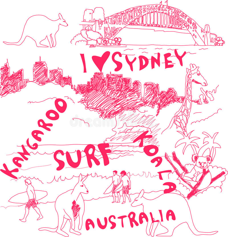Sydney And Australia Doodles Royalty Free Stock Photo
