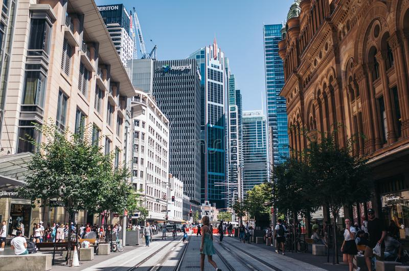 Sydney Pitt St Mall. Sydney, Australia - Feb 8 - The Strand Arcade in the middle of a busy day in Sydney CBD on February 8th, 2019 stock photography