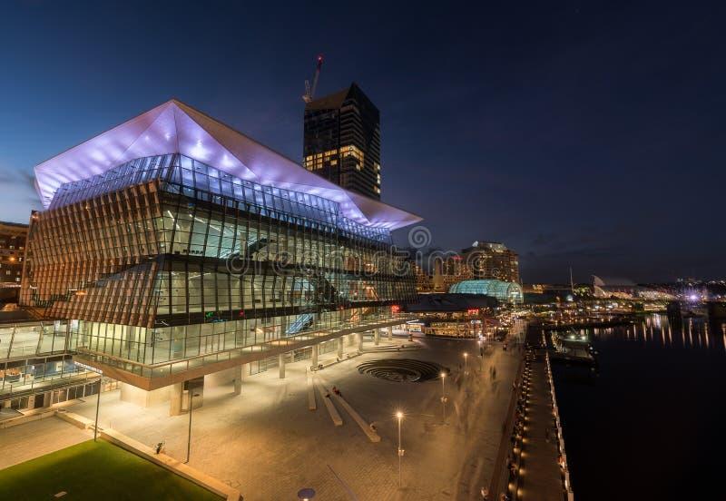 SYDNEY, AUSTRALIA - 28 febbraio 2017: Scena di notte del tesoro H immagine stock libera da diritti