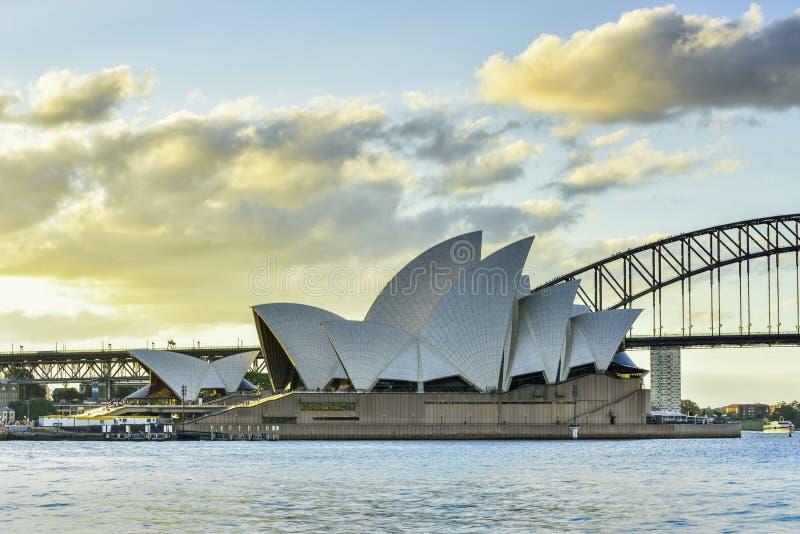 SYDNEY AUSTRALIA - 21 giugno 2015: Vista del tramonto a Sydney O fotografia stock libera da diritti