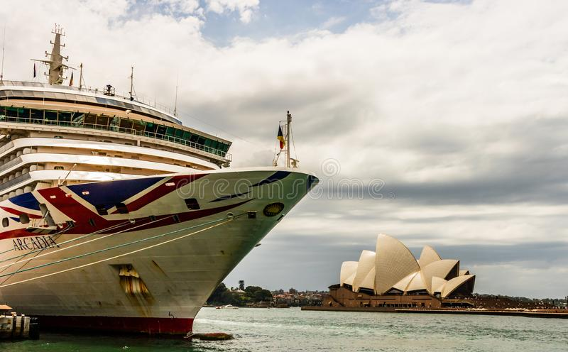 Sydney, Australia - 2019. The iconic Arcadia cruise liner docked in Sydney Harbor royalty free stock photography