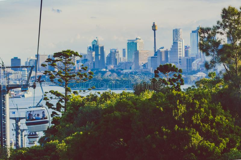 Taronga zoo cable car with view over Sydney`s skyline in the distance stock photography