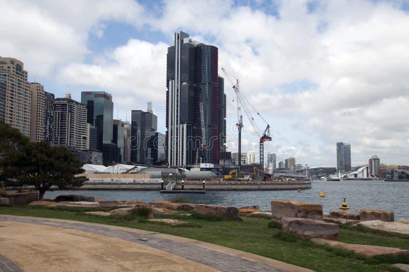 Sydney Australia Mar 24 2018, mening over Barangaroo-ontwikkeling aan Darling Harbour royalty-vrije stock afbeelding