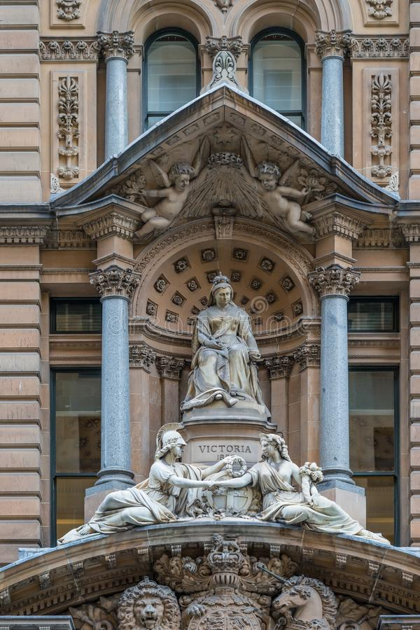 Queen Victoria statue at Cenotaph War Memorial, Sydney Australia stock image