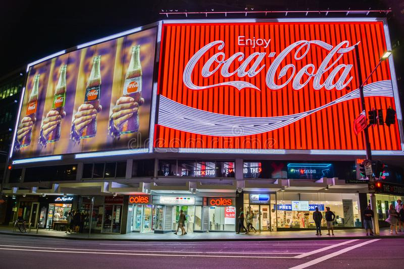 The Coca-Cola Billboard in Kings Cross, Sydney. Sydney, Australia – March 9, 2017. The Coca-Cola Billboard in Kings Cross, Sydney, with commercial royalty free stock image