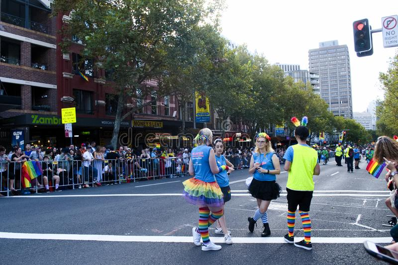 SYDNEY, AUSTRALIA - March 2 2019: Dykes on bikes leading the Mardi Gras 2019 parade. This year`s theme was FEARLESS royalty free stock images