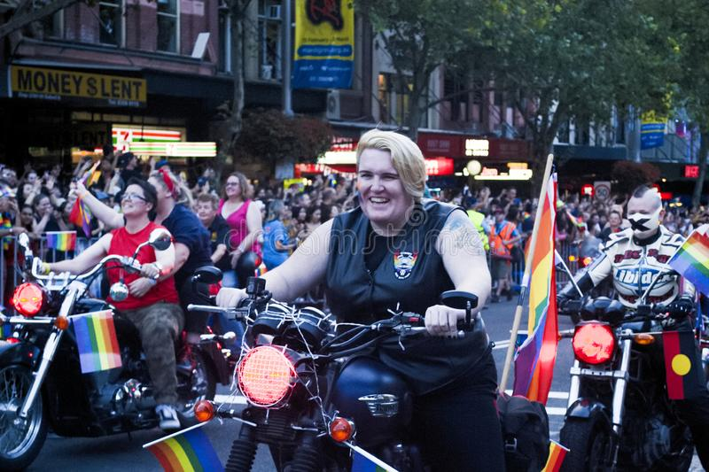 SYDNEY, AUSTRALIA - March 2 2019: Dykes on bikes leading the Mardi Gras 2019 parade. This year`s theme was FEARLESS royalty free stock photos
