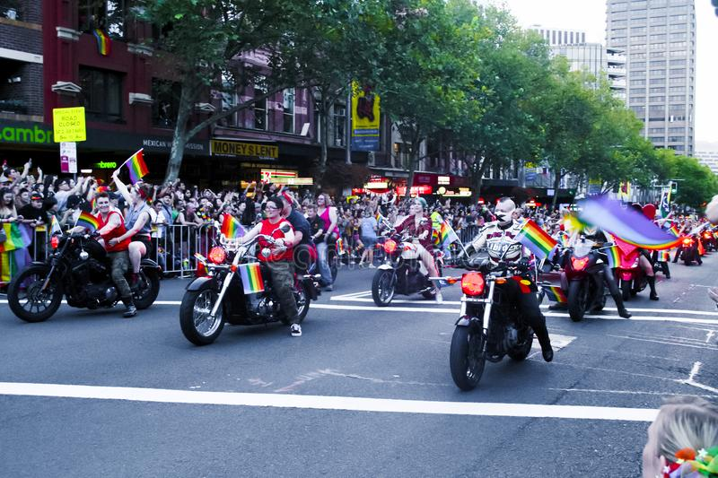 SYDNEY, AUSTRALIA - March 2 2019: Dykes on bikes leading the Mardi Gras 2019 parade. This year`s theme was FEARLESS stock images