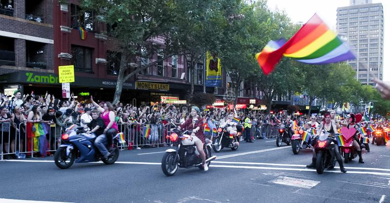 SYDNEY, AUSTRALIA - March 2 2019: Dykes on bikes leading the Mardi Gras 2019 parade. This year`s theme was FEARLESS stock photos