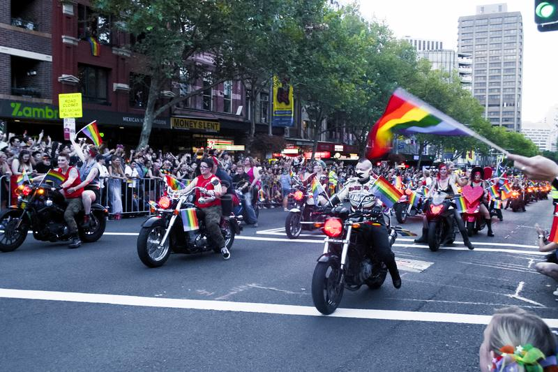SYDNEY, AUSTRALIA - March 2 2019: Dykes on bikes leading the Mardi Gras 2019 parade. This year`s theme was FEARLESS royalty free stock image