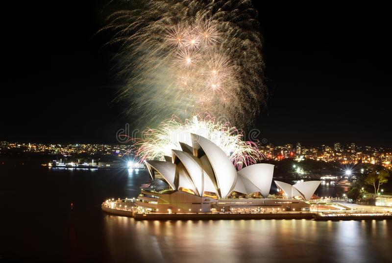 Moment of grand finale during an incredible fireworks show at the Sydney Opera House stock photos