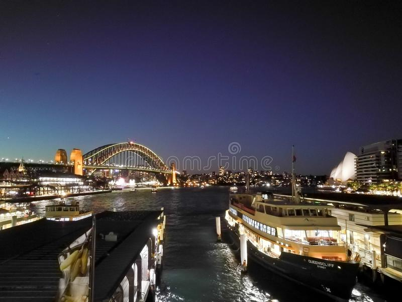 SYDNEY, AUSTRALIA - MAY 5, 2018: Sydney Harbour Bridge and Circular Quay, which is a landmark near the famous Sydney Opera House stock photos