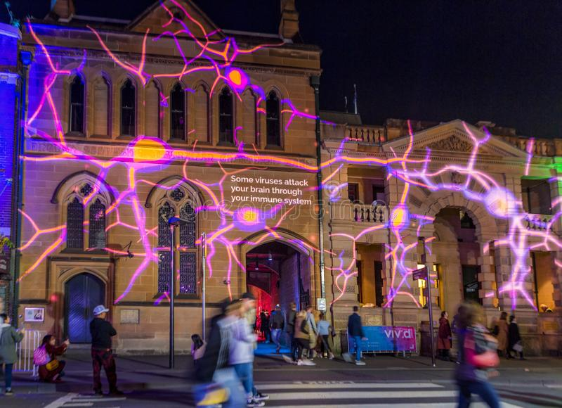Learn all about viruses and see them magnified during Vivid Sydney Annual festival royalty free stock photo
