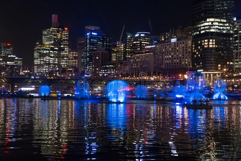 SYDNEY, AUSTRALIA - MAY 25, 2018; Vivid Sydney Annual Festival of light. Vivid Sydney Annual Festival of light. Spectacular water and light show in Darling royalty free stock image
