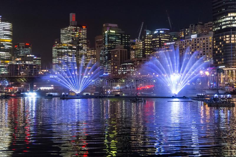 SYDNEY, AUSTRALIA - MAY 25, 2018; Vivid Sydney Annual Festival of light. Vivid Sydney Annual Festival of light. Spectacular water and light show in Darling stock image