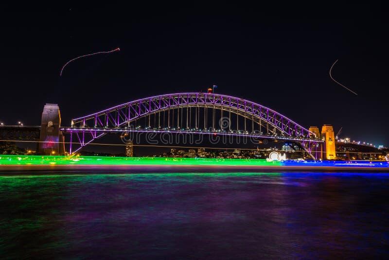 Vivid Sydney 2016 light illumination of Sydney Harbour Bridge stock photo