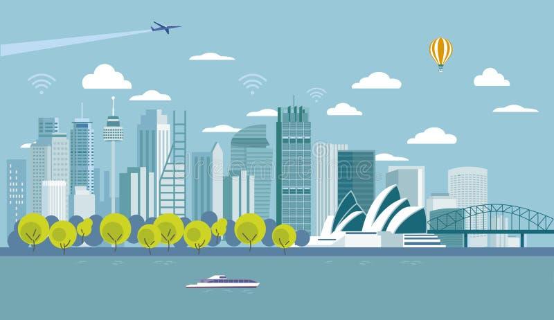 Sydney Australia miasta linia horyzontu Z znacząco zabytkami i drapacz chmur ilustracja wektor
