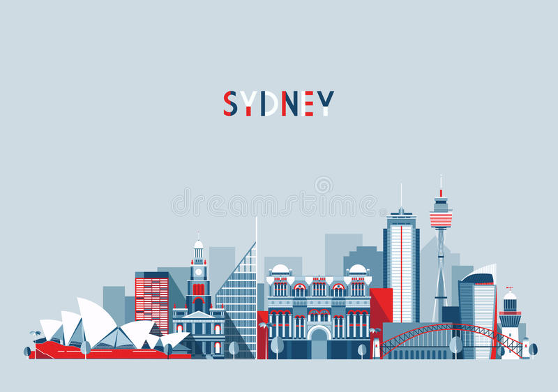 Sydney Australia miasta linii horyzontu wektoru tło royalty ilustracja