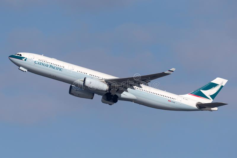 Cathay Pacific Airbus A330 airliner taking off from Sydney Airport royalty free stock photo