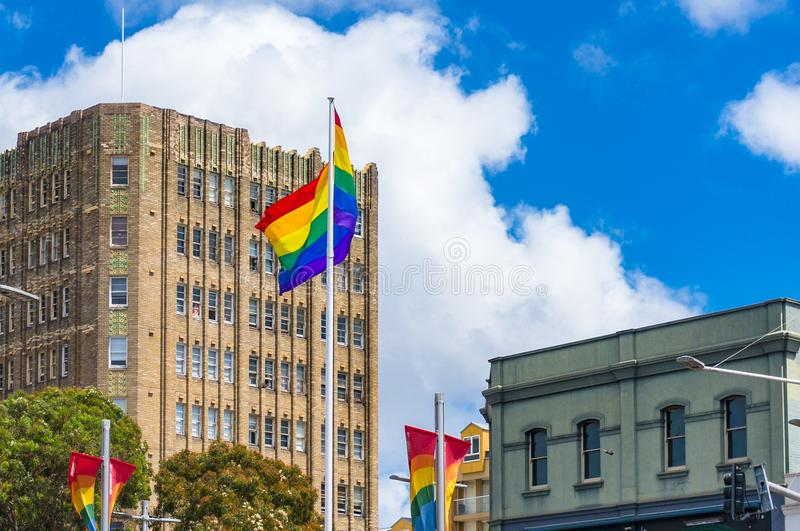 Same sex marriage support in Sydney. Sydney, Australia - October 18, 2017: Rainbow flag of LGTB movement on Oxford street in Sydney in support of family law royalty free stock photo