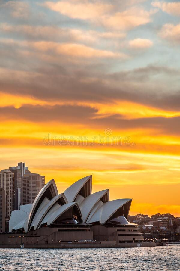 Sydney, Australia - 23 10 2018: The Opera House in a golden sunset stock photography