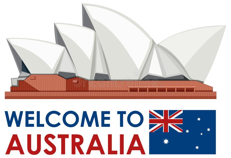 Sydney Australia Opera House Landmark royaltyfri illustrationer
